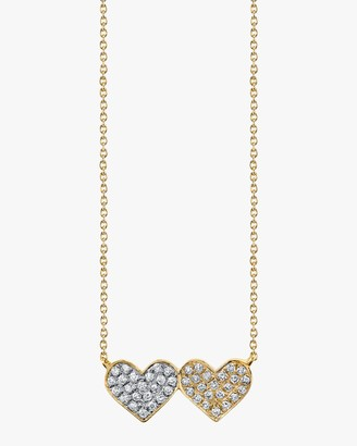 Sydney Evan Medium Double-Heart Pendant Necklace