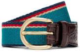 Noah 3cm Teal Croc-Effect Leather-Trimmed Striped Webbing Belt