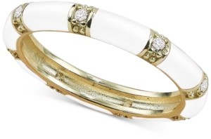 Argentovivo Cubic Zirconia Black Enamel Stacking Ring in 18k Gold-Plated Sterling Silver (Also available in Red or White)