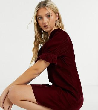 Reclaimed Vintage inspired puff sleeve mini dress in red velvet