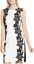 Vince Camuto Lace Trim Two-Tone Dress