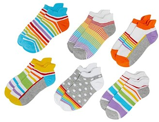 Jefferies Socks Sport Tab Non-Cushion Low Cut Socks 6-Pack (Toddler/Little Kid/Big Kid) (Rainbow) Girls Shoes