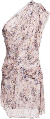 IRO Freesia One-shoulder Gathered Silk-chiffon Mini Dress
