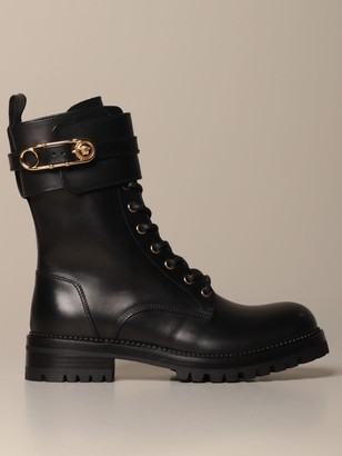 Versace Boots Combat Amphibian In Leather With Safety Pin