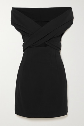 Dolce & Gabbana Off-the-shoulder Cutout Crepe Mini Dress - Black