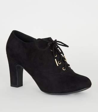 New Look Wide Fit Suedette Lace Up Shoe Boots