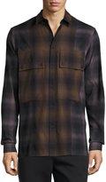 Helmut Lang Gradient Plaid Large-Pocket Shirt, Brown