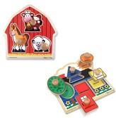 Melissa & Doug Infant Farm & Shape Jumbo Knob Puzzles