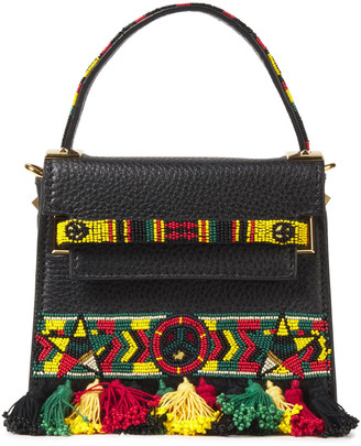 Valentino Bead And Tassel-embellished Pebbled-leather Shoulder Bag