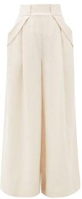 Aje Mimosa Cove Linen Wide-leg Trousers - Womens - Beige