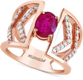 Effy Ruby (7/8 ct. t.w.) and Diamond (2/5 ct. t.w.) Ring in 14K Rose Gold