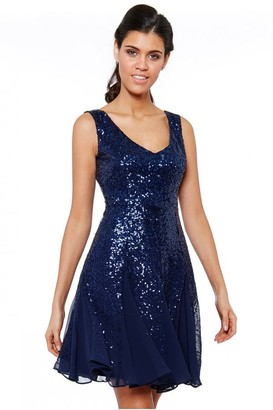 Goddiva Navy Sequin & Chiffon Mini Dress