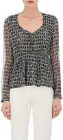 Derek Lam Women's Crocodile-Print Silk Georgette Blouse