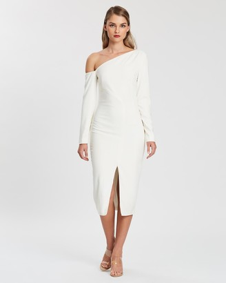 KIANNA - Women's White Long Sleeve Dresses - Evelyn Off-Shoulder Dress - Size One Size, XS at The Iconic
