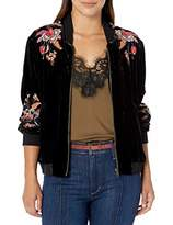 Johnny Was Jwla By JWLA By Women's Rayon and Silk Velvet Bomber Jacket with Embroidery