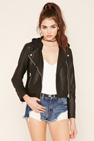 Forever 21 FOREVER 21+ Hooded Moto Jacket