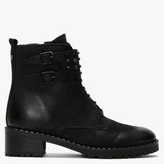 Daniel Sabarya Black Leather Studded Ankle Boots