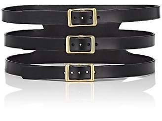 C.S. Simko Women's Three-Buckle Corset Leather Belt - Black
