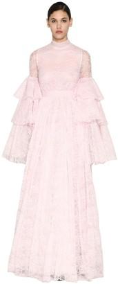 Giambattista Valli Long Ruffled Chantilly Lace Dress