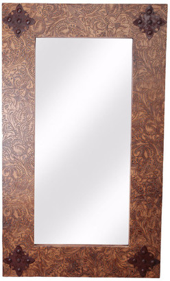 My Amigos Imports Rustic Ranch Tooled Leather Rustic Mirror