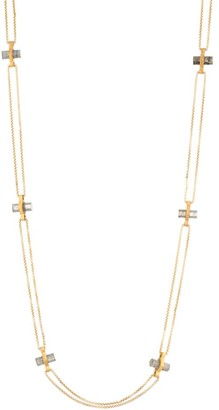 Dean Davidson Core 22K Yellow Goldplated & Labradorite Signature Bar Charm Necklace