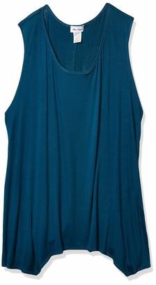 Star Vixen Women's Size Plus-Sz Sleeveless Flattering Sharkbite Hem Sweater Knit Top