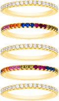 Bliss Multicolor Cubic Zirconia & Gold Band Ring Set