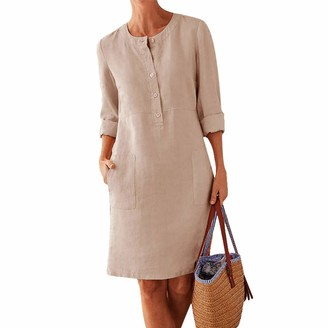 Laz Women's V Neck Summer Dress Long Sleeve Linen Casual Long Dress Vintage Ethnic Sundress Plus Size Tunic Shirts with Pockets M-5XL(Deep Gray 4XL)