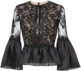 Marchesa frilled peplum lace blouse