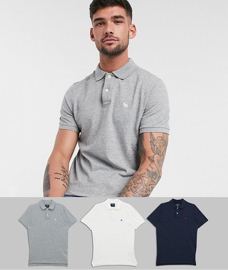 Abercrombie & Fitch 3 pack icon logo pique polo in white/gray/navy