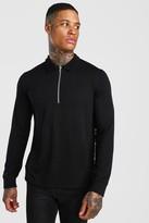 boohoo Mens Black Knitted Zip Collar Polo, Black