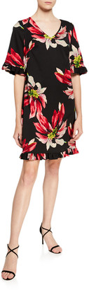 Trina Turk Lounge Festive Floral Faille Ruffled Hem Shift Dress