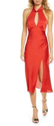 Finders Keepers Gabriella Open Back Satin Midi Dress