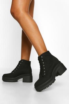 boohoo Chunky Lace Up Block Heel Hiker Boot