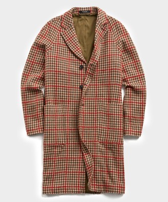 Todd Snyder Italian Tweed Wool Raglan Windowpane Topcoat in Red