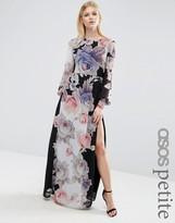 Asos Caftan Sleeved Maxi Dress in Black Floral