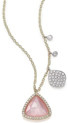 Meira T Rose Quartz, Mother-Of-Pearl, Diamond & 14K Yellow Gold Pendant Necklace