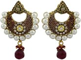 Matra Goldtone Indian Bollywood Ethnic CZ Dangle Earring Set Traditional Women Jewelry
