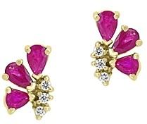 Bloomingdale's Pear-Shaped Ruby & Diamond Earrings in 14K Yellow Gold - 100% Exclusive