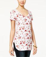 Ultra Flirt Juniors' Printed Side-Stripe Tunic T-Shirt