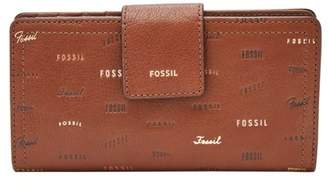 Fossil Logan Rfid Tab Clutch Wallet Brown Multi