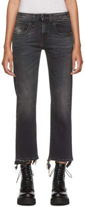 R 13 Black Straight Cropped Boy Jeans