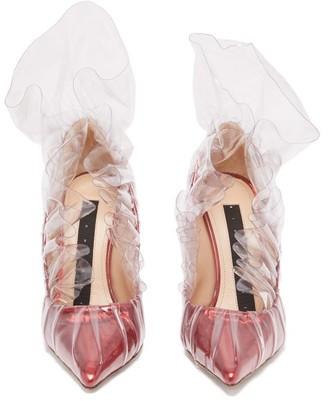 Midnight 00 Shell Lame & Pvc Ruched Pumps - Red