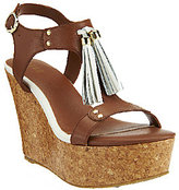 G.I.L.I. g As Is G.I.L.I. Leather T-strap Tassel Wedge Sandals - Kate