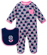 Offspring Infant Girls' Flower Footie & Bib Set - Sizes Newborn-9 Months