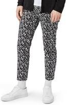 Topman Men's Leaf Print Skinny Fit Crop Trousers