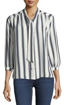 19 Cooper Striped Tie-Neck Blouse
