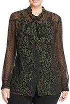 MICHAEL Michael Kors Panther Print Tie-Neck Blouse