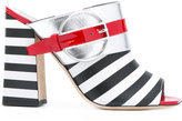 Pollini Deco Colour-Block & Stripes mules - women - Leather/rubber - 37