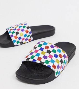 Vans Slide-On sliders in rainbow glitter